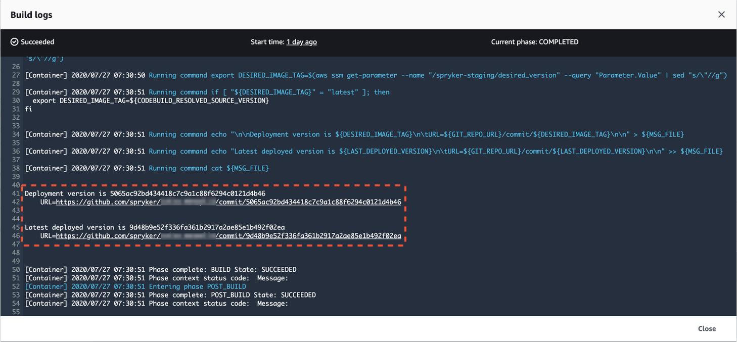 deployment versions logs