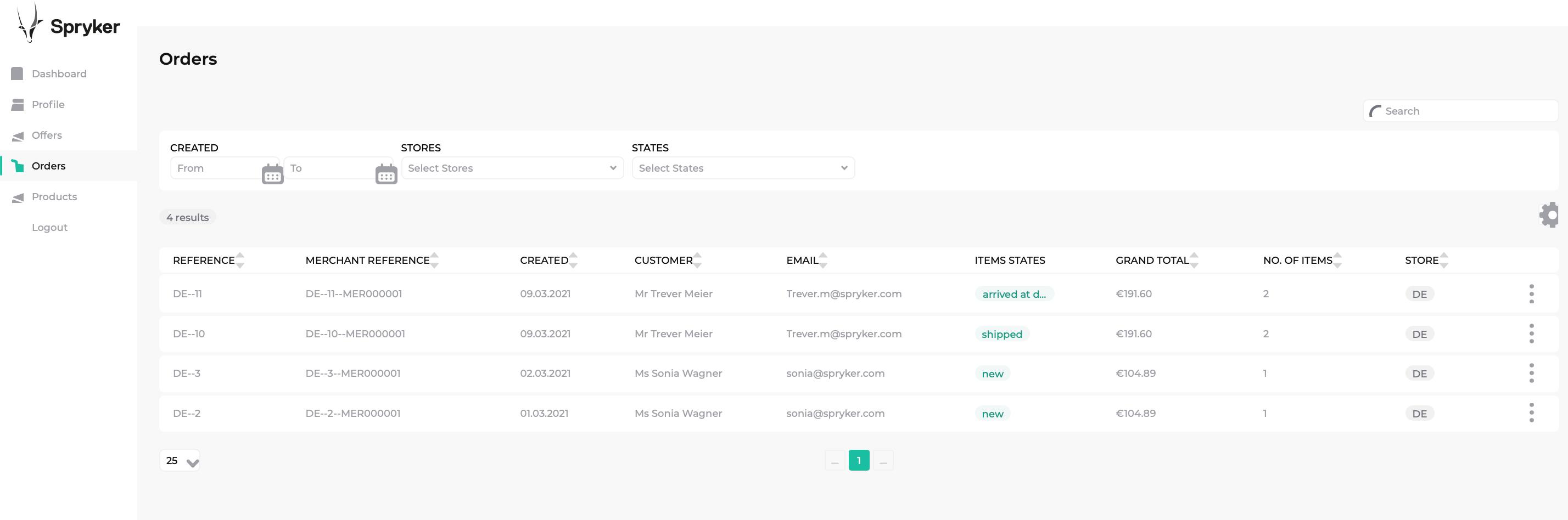 Merchant order in the Merchant Portal