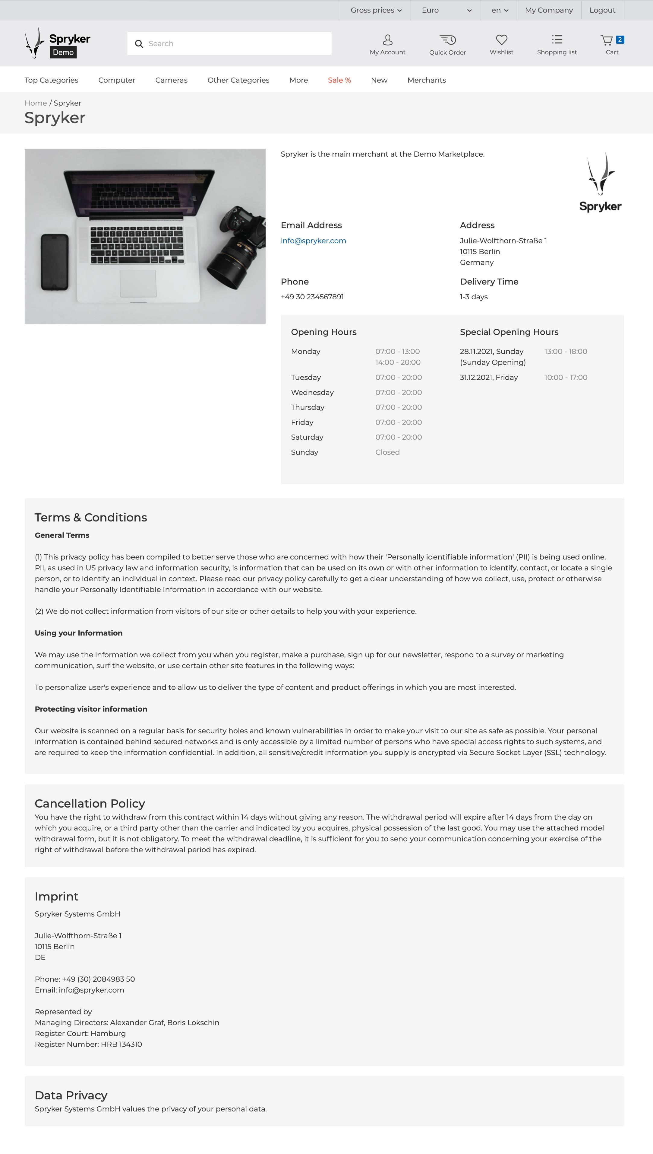 Merchant profile page