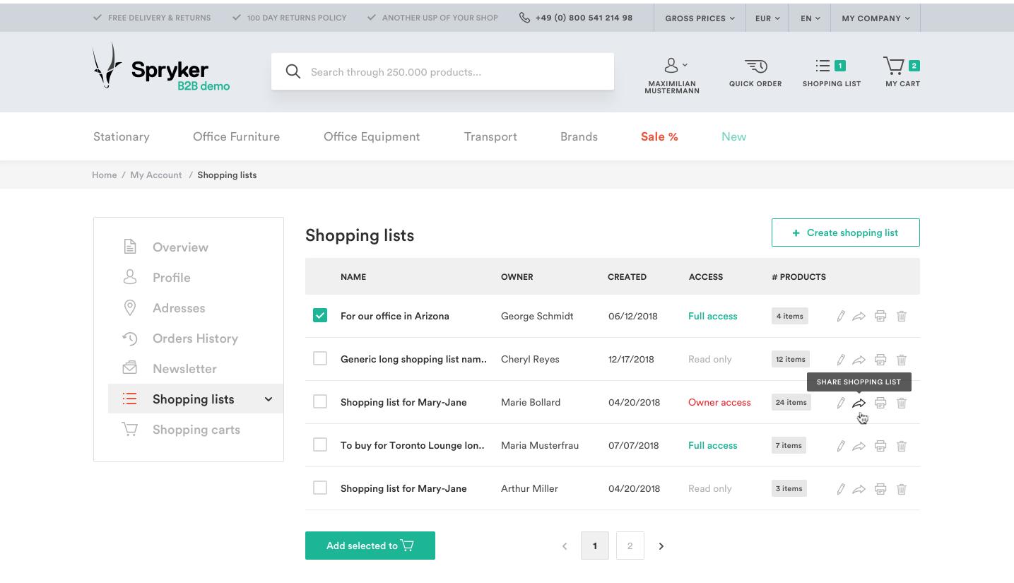 Shopping List Feature