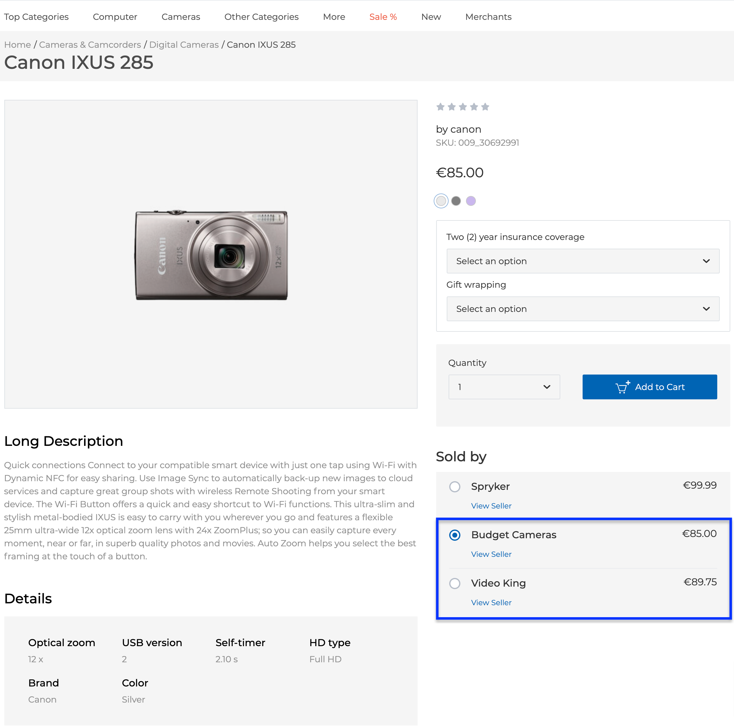 Merchant offers on the Product Details page