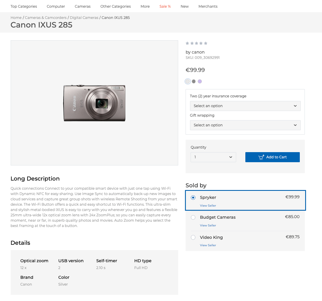 Merchant product on the Product Details page