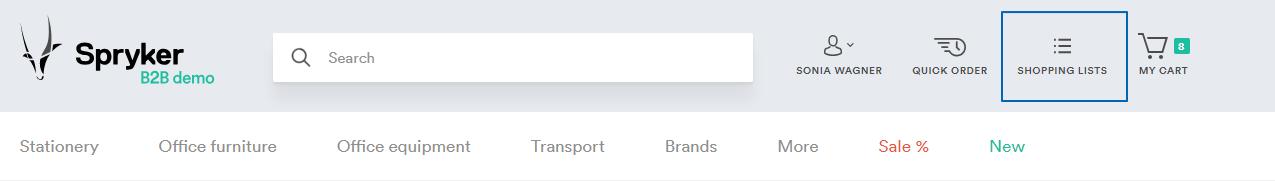 Shopping lists header